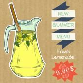 Jug of fresh home made lemonade — Stock Vector