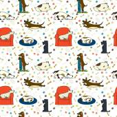 Seamless pattern with cartoon dogs — Stock Vector