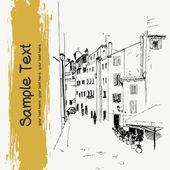 Quiet street  in old European town — Stock Vector