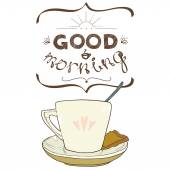 Cartoon morning cup of coffee — Stock Vector