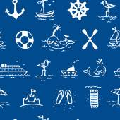 Seamless pattern with sea icons — Stock Vector