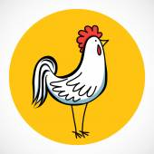 Hand drawn cartoon rooster — Stock Vector