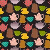 Seamless pattern with cups and teapot — Stock Vector