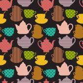 无缝模式与茶杯和茶壶 — 图库矢量图片