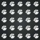 Hand drawn doodle paws prints — Stock Vector