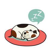 Cartoon dog, sleeping on the mat — Stock Vector