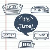 Cartoon alarm clocks and speech bubble — Stock Vector