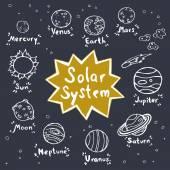 Sada ručně kreslenou doodle Planet — Stock vektor