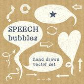 Conjunto de bolhas do discurso mão desenhada — Vetor de Stock