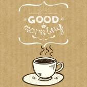 Cup of coffee and lettering Good Morning — Stock Vector