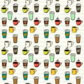 Seamless pattern  with tea and coffee cups — Stock Vector