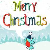 Christmas greeting card with cartoon bird — Stock Vector