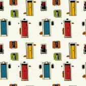 Seamless pattern with colorful doors and windows — Stock Vector