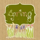 Tło wiosna z doodle uprawy kwiatów — Wektor stockowy