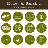 Money and banking icons — Stock Vector