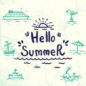 Hello Summer lettering — Stock Vector