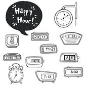 Watches and alarm clocks and speech bubble — Stock vektor