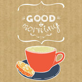 Cup of cappuccino and lettering Good Morning — Stock Vector