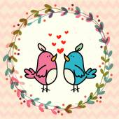 Birds couple in love and floral frame — Vetor de Stock