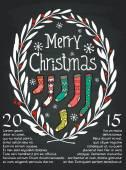 Christmas laurel frame with   socks — Stock Vector