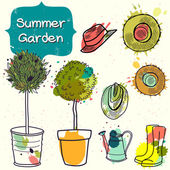 Summer garden elements. — Stockvector