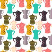 Seamless pattern with colorful coffee makers — Stock Vector