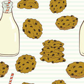 Seamless pattern with cookies and milk — Stock Vector