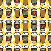 Seamless pattern with cups of coffee to go — Stock Vector