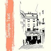 Old European town sketch — Stock Vector