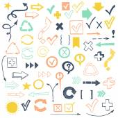 Check marks, check boxes and arrows — Stock Vector