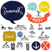 Set of sea and summer vacation doodles — Stock Vector