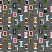 Seamless pattern of  sketchy italian windows — Stock Vector