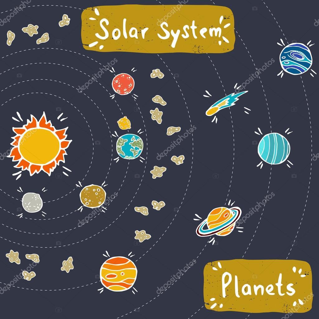Doodle model of solar system stock vector for Solar for kids