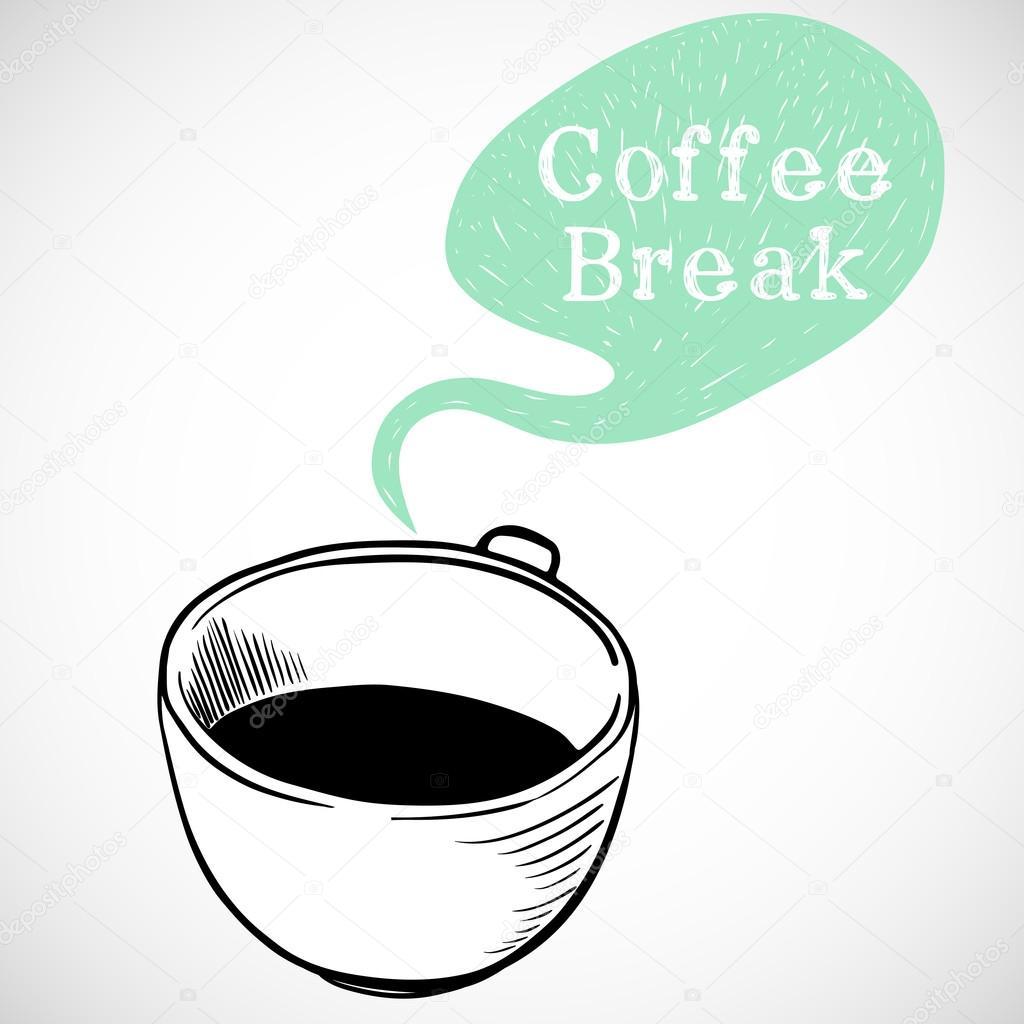 cup of coffee and coffee break text stock vector tashanatasha 78032120. Black Bedroom Furniture Sets. Home Design Ideas
