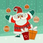 Funny Santa Claus and gifts. — Vetor de Stock
