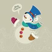 Grappige sneeuwpop kaart. — Stockvector