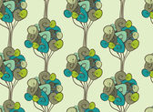 Seamless retro tree pattern with forest illustration in vector. — Stock Vector
