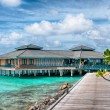 Maldives -Island in the Ocean, houses on the quay — Stock Photo #55196525