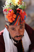 Man with traditional dress at the inaugural procession of the Ladakh Festival — Stock Photo