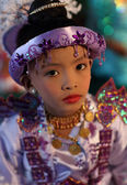An unidentified Burmese boy at a Buddhist novice hood initiation ceremony — Stock Photo