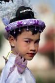 An unidentified Burmese boy at a Buddhist novice hood initiation ceremony — Stock Photo