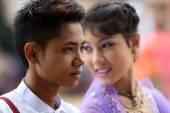 An unidentified young Burmese man and woman — Stock Photo