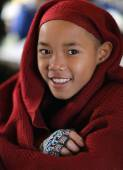 An unidentified Burmese Buddhist novice — Stock Photo