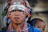 Unidentified Akha woman at New Year ceremony — Stock Photo