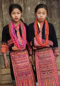 Unidentified Akha girls at New Year ceremony — Stock Photo