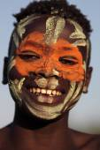 Unidentified young Suri man with face painting — Stock Photo