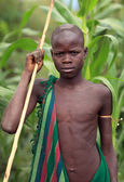 Unidentified young Suri cattle herder — Stock Photo