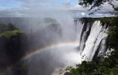 Victoria Falls with rainbow — Stock Photo
