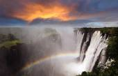 Victoria Falls with rainbow — Stock fotografie