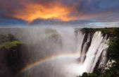 Victoria Falls with rainbow — Photo